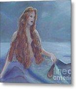 Mermaid In Moonlight Metal Print
