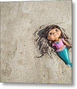 Mermaid In The Sand Metal Print