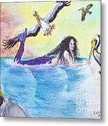 Mermaid Pelicans Surf Beach Cathy Peek Art Metal Print