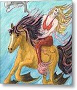 Mermaid Sea Horse Dolphin Fantasy Cathy Peek Metal Print