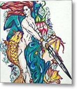 Mermaid Warrior Metal Print