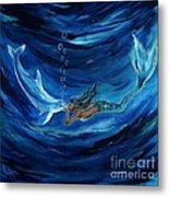 Mermaids Dolphin Buddy Metal Print