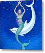 Mermaids- Dolphin Moon Mermaid Metal Print