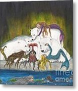 Mermaids Polar Bears Cathy Peek Fantasy Art Metal Print