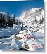 Merry Christmas Snowy Mountain Scene Metal Print