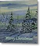Merry Christmas - Snowy Winter Evening Metal Print