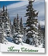 Merry Christmas - Winter Trees And Rising Clouds Metal Print