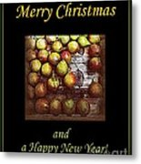 Merry Christmas And A Happy New Year - Little Gold Pears And Leaf - Holiday And Christmas Card Metal Print