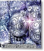Merry Christmas Blue Metal Print by Mo T