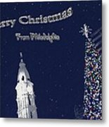 Merry Christmas From Philly Metal Print by Photographic Arts And Design Studio