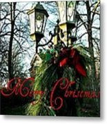Merry Christmas Greeting Card Metal Print