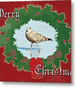 Merry Christmas Greeting Card - Young Seagull Metal Print