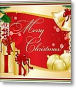 Merry Christmas Greeting With Gifts Bows And Ornaments Metal Print