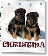 Merry Christmas Puppies Metal Print