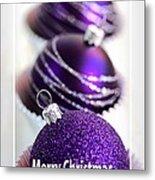 Merry Christmas Purple Baubles Metal Print