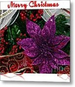 Merry Christmas Red Ribbon Metal Print