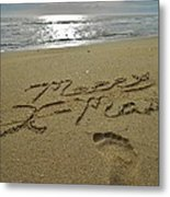 Merry Christmas Sand Art Footprint 4 12/25 Metal Print