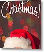 Merry Christmas Santa Card Metal Print