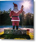 Merry Christmas Santa Claus Greeting Card Metal Print