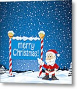 Merry Christmas Sign Santa Claus Winter Landscape Metal Print