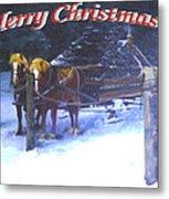 Merry Christmas Sleigh Metal Print