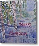 Merry Christmas - Snowy Winter Path Metal Print