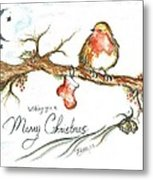 Merry Christmas Robin Metal Print