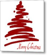 Merry Christmas Tree - Red Metal Print