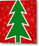Merry Christmas Tree With Snowflake Background  Metal Print