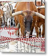 Longhorns Merry Christmas Ya'll Metal Print