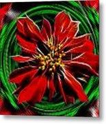 Merry Xtmas - Poinsettia Metal Print