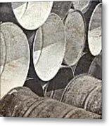 Metal Barrels 1bw Metal Print