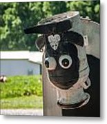 Metal Cow On Farm Metal Print