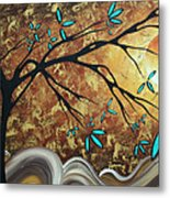 Metallic Gold Textured Original Abstract Landscape Painting Apricot Moon By Madart Metal Print
