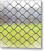 Metallic Wire Fence Metal Print