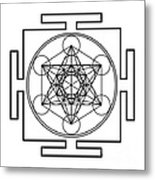 Metatron's Cube - Black Metal Print