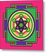 Metatron's Cube Mandala Metal Print