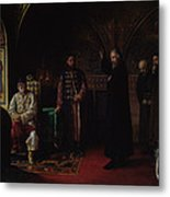 Metropolitan Philip Of Moscow 1507-90 With Tsar Ivan The Terrible 1530-84 Oil On Canvas Metal Print