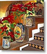 Mexican Pottery On Staircase Metal Print by Judy Swerlick