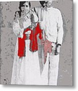 Mexican Revolutionary  Couple In Photo Studio No Location  C.1914-2014 Metal Print