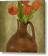 Mexican Water Jug With Poppies Metal Print