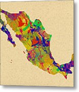 Mexico Map Watercolor Metal Print