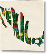 Mexico Typographic Watercolor Map Metal Print