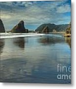 Meyers Creek Sea Stack Blues Metal Print