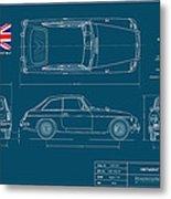 Mgb Gt Blueplanprint Metal Print