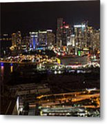 Miami After Dark II Skyline  Metal Print