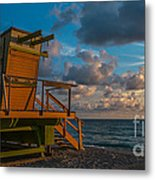 Miami Beach Lifeguard Station Glows From The First Light Of Day - Panoramic Metal Print