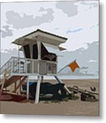Miami Beach Lifeguard Station II Abstract Metal Print
