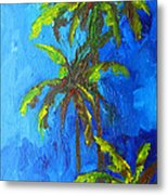 Miami Beach Palm Trees In A Blue Sky Metal Print by Patricia Awapara