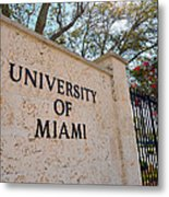 Miami Campus Sign In Spring Metal Print by Replay Photos